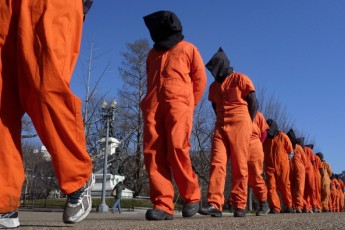 "Members of the group ""Witness Against Torture"" protest against the detention camp at Guantanamo Bay, in Washington D.C."