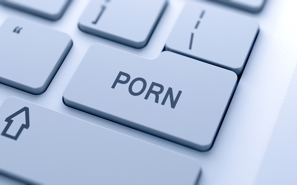 Porn button on keyboard with soft focus